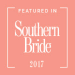 Pink, square icon representing that the New Orleans birthday event planner Z Event Company was featured in a 2017 issue of Southern Bride Magazine