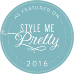 Blue, round icon representing catering company Z Event Company's 2016 feature in Style Me Pretty